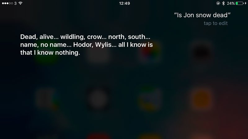 Funny things to ask Siri: Jon Snow