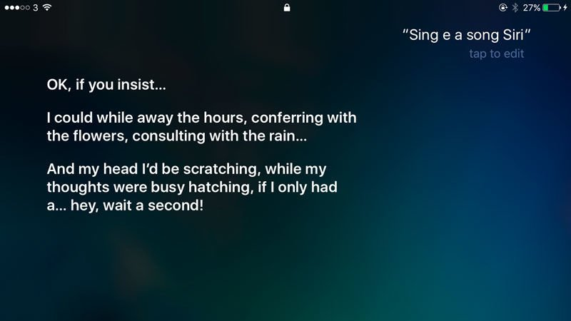 Funny things to ask Siri: Sing me a song